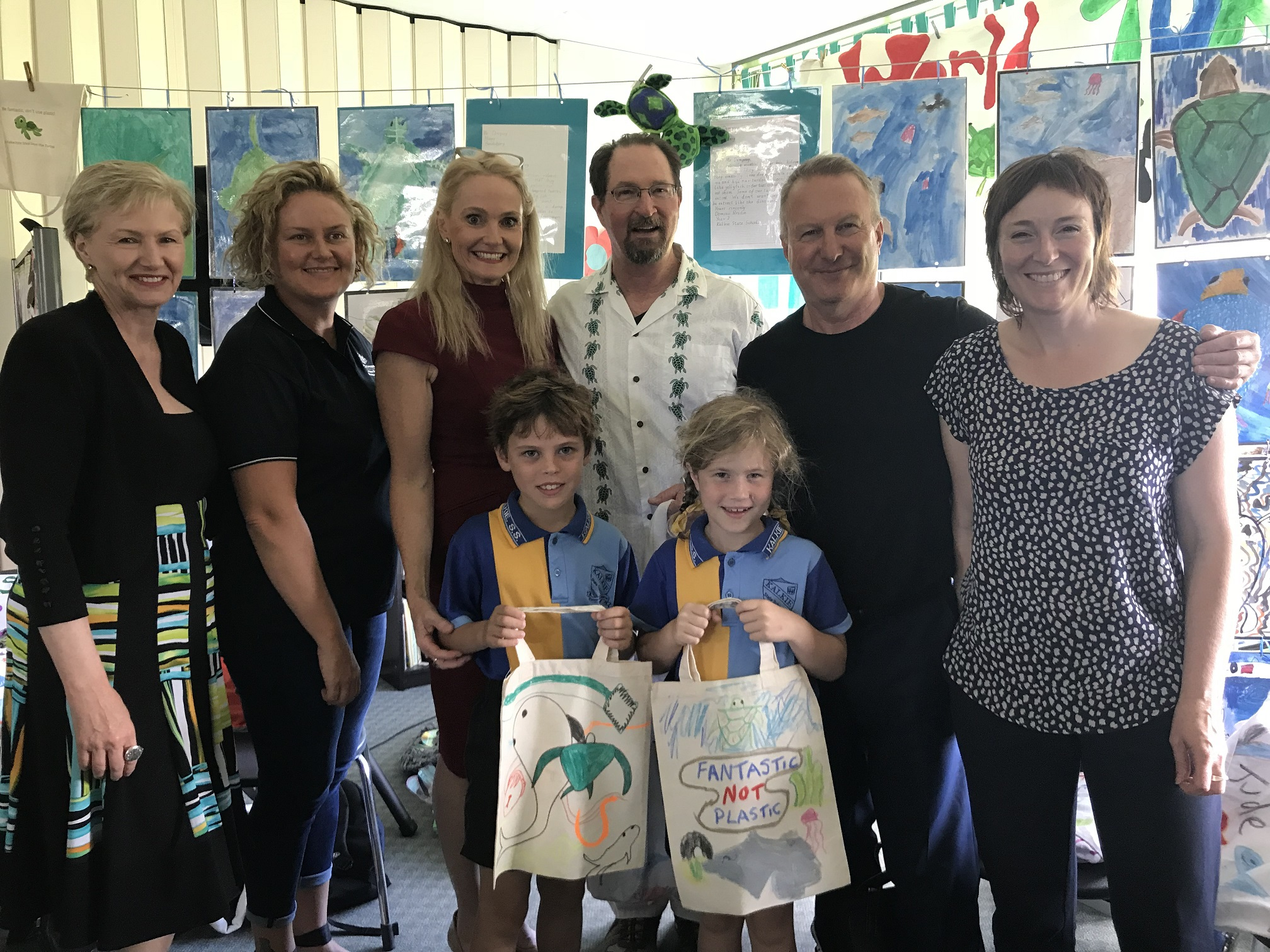 """Fantastic Not Plastic"" cloth bags made by Kalkie State School students"